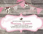 Shabby Chic Cowgirl Western Invitation Vintage Lace Girls Birthday Party Bridal or Baby Shower Invitation Digital Pink Brown Wood Background