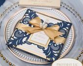 Glittering Navy Blue Laser Cut Petal Fold Wedding Invitation RSVP Envelope Gold Ribbon Tag Baby Bridal Shower Birthday Baptism Pocket Folder