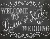 Shabby Chic Vintage Chalkboard Welcome Sign Bridal or Baby Shower Wedding Birthday Party Digital File