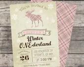 Rustic Vintage Moose Winter ONE-derland Girls Invitation Birthday Party Bridal Baby Shower ONEderland Wonderland Frozen Snowflake DIY
