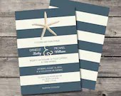 Nautical Beach Theme Starfish Wedding Invitation Baby or Bridal Shower Birthday Party Vintage Navy Blue White Beige Digital File