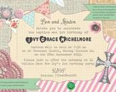 Shabby Chic Vintage Girls Birthday Bridal or Baby Shower Baptism Tea Party Invitation Digital Pink Blue Yellow