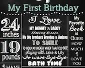 Shabby Chic Vintage 20x30 Chalkboard Sign Girls or Boys First Birthday Party Bridal or Baby Shower Wedding Digital DIY