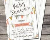 Rustic Shabby Chic Baby Shower Invitation Bridal or Birthday Party Wedding Digital File DIY Country Folk Vintage Wood Background