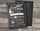 Vintage Chalkboard Cookies and Milk Invitation Birthday Party Bridal or Baby Shower Wedding Invitation Digital File Pink