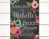 Chalkboard Bridal Shower Sign Wedding Shower Signs Digital File DIY Floral Watercolor Flowers Vintage