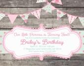 Shabby Chic English Rose Girls Birthday Party Bridal or Baby Shower Invitation Pink Green Blue Digital Vintage
