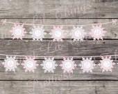 Shabby Chic Vintage Winter ONE-derland Banner Happy Birthday Party Bridal Baby Shower ONEderland Wonderland Frozen Snowflake Digital DIY
