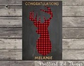 Digital File Baby Shower Sign Chalkboard Deer Head Silhouette Stag Antlers Happy Birthday Bridal Vintage Buffalo Check Plaid Shabby Chic