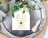 Watercolor Floral Bridal Shower Invitation Emerald Green Gold Mustard Yellow Flowers Botanical Greenery Wedding or Baby Shower Digital File