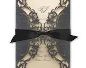 Elegant Embossed Black Shimmer Laser Cut Gate Fold Thermography Printed Champagne Wedding Invitation Wrap RSVP Card Envelope Ecru Cream Gold