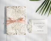 Gorgeous Ivory Shimmer Laser Cut Gate Fold Wedding Invitations RSVP Cards and Envelopes Glitter Gold Backer Ribbon Custom Suite Cream Beige