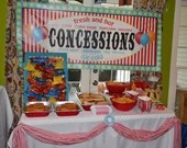 Digital File Carnival Circus Concessions Banner Food Table Sign Girl Boy Birthday Party Bridal Baby Shower Wedding Red Blue Yellow Balloons