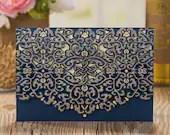 Elegant Navy Blue Shimmer Laser Cut Lace Pocket Fold Envelopes For Wedding Invitations and RSVP Cards Beige Cream Ivory Accents