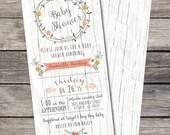 Vintage Shabby Chic Baby Shower Invitation Birthday Party Bridal Shower Wedding Digital File Wood Background Rustic Folk Country Floral DIY