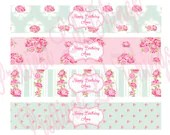 Shabby Chic English Rose Water Bottle Labels Wraps Digital File Girls First Birthday Party Baby Bridal Shower Wedding Vintage Pink