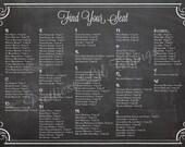 Shabby Chic Vintage Chalkboard Sign Wedding Seating Chart Plan Wedding Ceremony Sign Program Digital File Printable