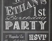 Shabby Chic Vintage Chalkboard Sign Invitation Birthday Party Bridal or Baby Shower Wedding Digital