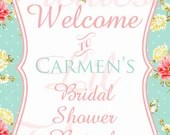 Shabby Chic Welcome Sign Printable DIY Girls First Birthday Party Baby or Bridal Shower Wedding Digital Vintage Pink