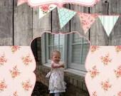 Shabby Chic Vintage Girls Birthday Party Bridal or Baby Shower Invitation Digital Pink Blue Yellow