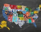 Chalkboard License Plates United States Map Picture Wall Art Typography Decor Print Photo Retro Vintage Digital DIY