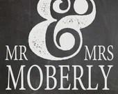 Shabby Chic Vintage Chalkboard Mr & Mrs Sign Bridal Shower Wedding Digital Anniversary Gift Digital DIY Print