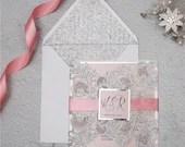 Elegant Silver Glitter Blush Pink Laser Cut Lace Petal Fold Wedding Invitation RSVP Card and Envelope Mirror Silver Backer Ribbon Belly Band