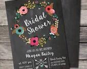 Rustic Shabby Chic Chalkboard Bridal Shower Invitation Birthday Party Baby Wedding Digital File Flowers Floral Wreath Folk DIY Vintage