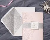 Blush Pink Shimmer Laser Cut Pocket Fold Floral Wreath Wedding Invitation RSVP Card Envelopes Silver Glitter Belly Band Many Colors Flowers