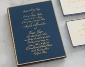 Navy Blue Calligraphy Gold Foiled Feathered Deckle Edge Wedding Invitation Foil Ivory Cream RSVP Envelope Bridal Shower Baby