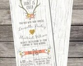 The Hunt Is Over Wedding Invitation Birthday Party Baby or Bridal Shower Digital File Wood Background Rustic Folk Floral Rustic Shabby Chic
