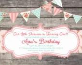 Shabby Chic Girls Birthday Party Bridal or Baby Shower Invitation Pink Blue Yellow Digital Vintage