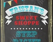 Vintage Carnival Circus Chalkboard Sweet Shoppe Shop Candy Buffet Sign Birthday Party Bridal or Baby Shower Wedding Welcome Digital