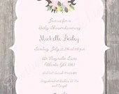 Shabby Chic Rustic Floral Deer Stag Antlers Invitation Vintage Birthday Party Bridal Baby Shower Wedding Invitation Pink Blue Yellow Digital