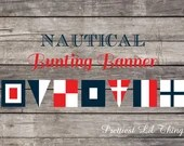 Nautical Bunting Banner Boy or Girl Baby or Bridal Shower Birthday Party Wedding Home Decor Navy Blue Red White Digital File