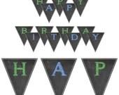 Chalkboard Banner Birthday Party Baby or Bridal Shower Wedding DIY Printable Shabby Chic Digital File