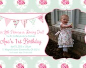 Shabby Chic Girls Birthday Party Baby Shower or Bridal Shower Invitation Pink Blue Yellow