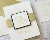 Shimmering Gold Foil Stamped Ivory Wedding Invitation RSVP Glitter Belly Band Tag Envelope Bridal Shower Baby Birthday Anniversary Baptism