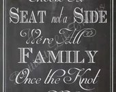 Chalkboard Choose A Seat Not A Side Sign Prop  Wedding Bridal Baby Shower Girl Boy Birthday Party Digital DIY