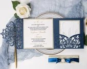 Elegant Glittering Navy Laser Cut Lace Pocket Fold Wedding Invitations RSVP Cards and Envelopes Champagne Gold Glitter Backer & Belly Band