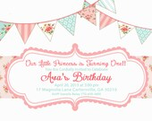 Shabby Chic Vintage Girls Birthday Party Bridal or Baby Shower Invitation Digital File Pink Blue Yellow