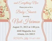 Shabby Chic Girl Baby or Bridal Shower Birthday Party Invitation Pink Floral