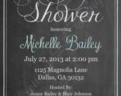 Shabby Chic Vintage Chalkboard Invitation Baby or Bridal Shower Birthday Party Wedding Digital