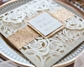 Luxury Rose Gold Ivory Shimmer Laser Cut Petal Fold Wedding Invitation Glitter Belly Band RSVP Card Envelope Liner Cream Beige Champagne