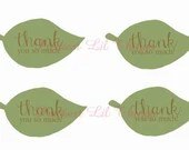 Shabby Chic Leaf Leaves Thank You Favor Tags Baby Shower Birthday Party Bridal Wedding Digital File