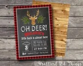 Rustic Vintage Oh Deer Head Stag Antlers Baby Shower Invitation Boy Girl Birthday Party Bridal Buffalo Check Plaid Digital File