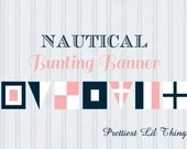 Nautical Bunting Banner Baby or Bridal Shower Birthday Party Wedding Home Decor Navy Blue Pink White Digital File