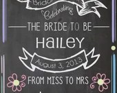 Shabby Chic Vintage Chalkboard Bride To Be Sign Bridal or Baby Shower Wedding Birthday Welcome Door Table Decor Digital DIY From Miss To Mrs