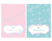 Shabby Chic Vintage Winter ONE-derland Food Labels Happy Birthday Party Bridal Baby Shower ONEderland Wonderland Frozen Snowflake Digital