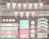 Shabby Chic Tweet Little Birdie Bird Baby Shower Package Birthday Party Bridal Banner Cupcake Toppers Water Bottle Labels Wrappers Digital